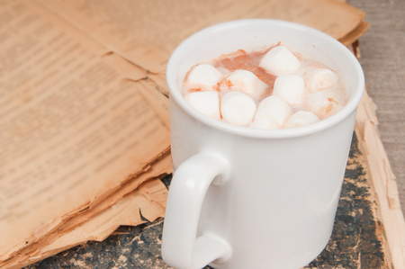 Cup of coffee with marshmallows on vintage books on linen background photo