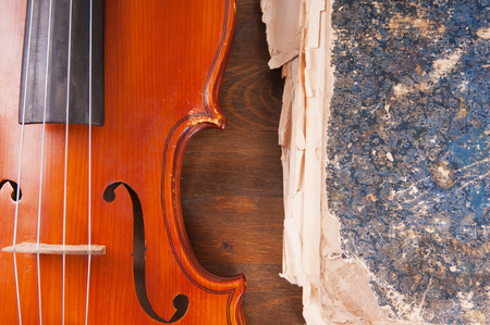 Violin, bow and old book table photo