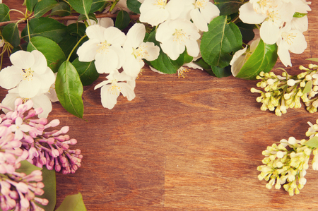 Spring flowers on a wooden  photo