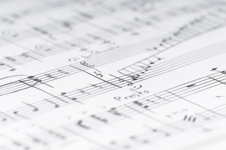 Handwritten musical notes, shallow DOF Stock Photo