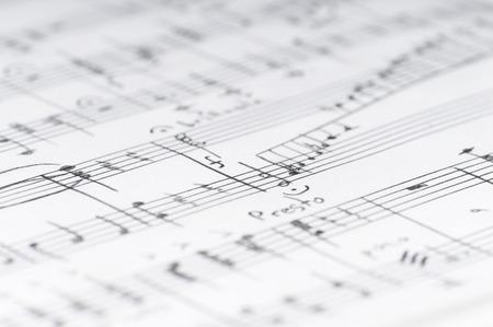 music sheet: Handwritten musical notes, shallow DOF Stock Photo