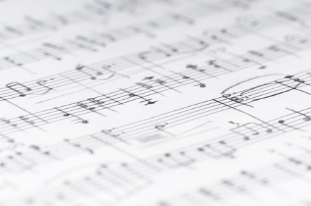 Handwritten musical notes, shallow DOF Stockfoto