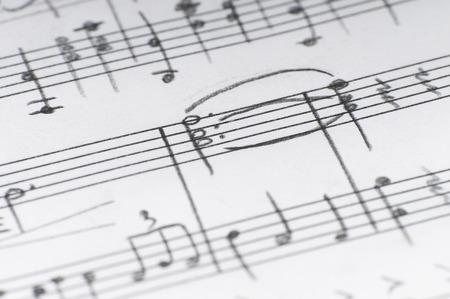 Handwritten musical notes, shallow DOF Standard-Bild