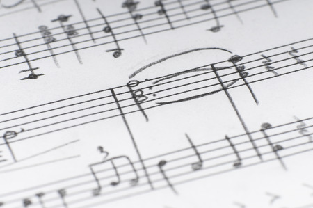old sheet music: Handwritten musical notes, shallow DOF Stock Photo