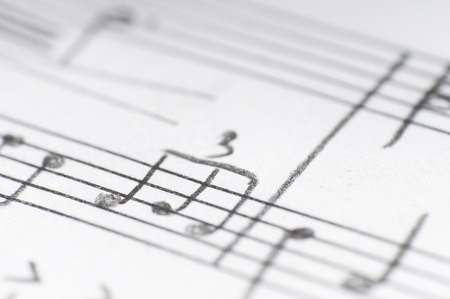 music notes background: Handwritten musical notes, shallow DOF Stock Photo