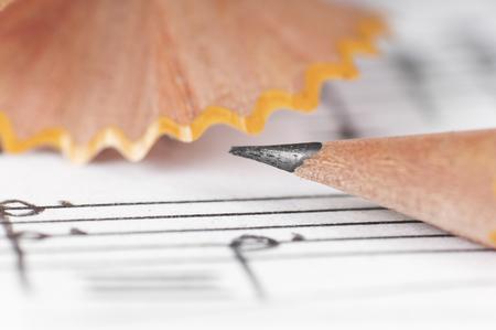 Sheet sheet and pencil, shallow DOF photo