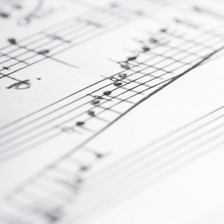 Handgeschreven muzieknotities, ondiepe DOF Stockfoto