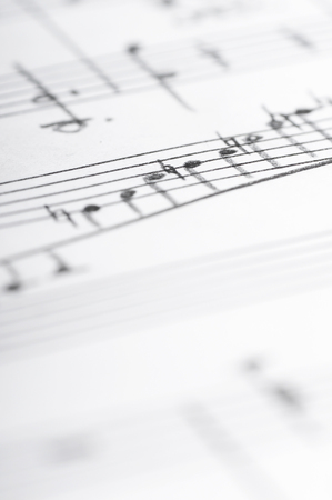 sheet music: Handwritten musical notes, shallow DOF Stock Photo