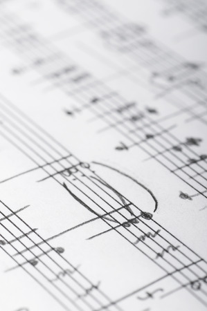 Handwritten musical notes, shallow DOF Archivio Fotografico