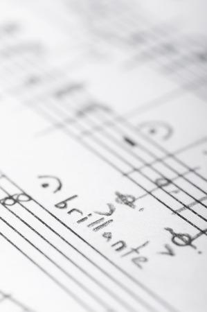 Handwritten musical notes, shallow DOF Stockfoto