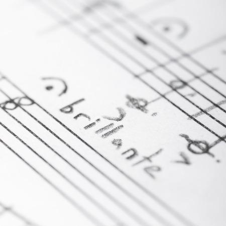 Handwritten musical notes, shallow DOF photo