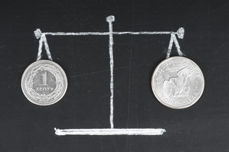Exchange rate . Coins on the scale. The polish zloty and dollar photo