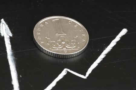 koruna: Czech koruna exchange rate on international stock exchanges. Stock Photo
