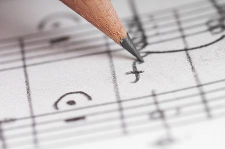 Sheet sheet and pencil, shallow DOF