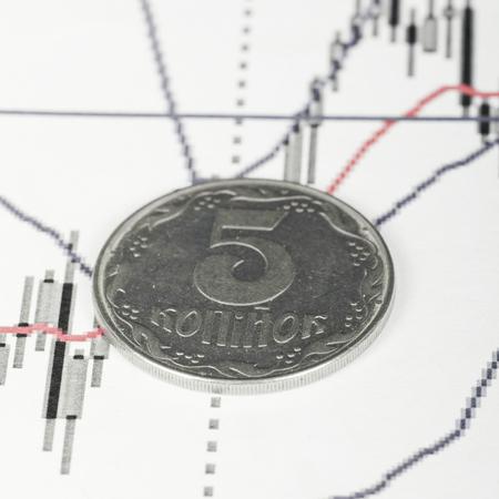 kopek: Exchange rate, ukrainian kopek (penny) on graph Stock Photo