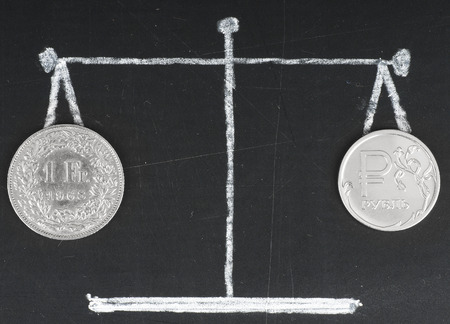 swiss franc: Exchange rate . Coins on the scale. The Russian ruble and swiss franc Stock Photo