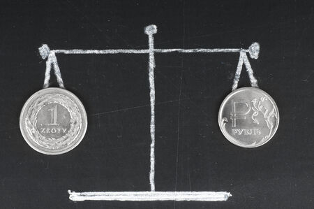 Exchange rate . Coins on the scale. The Russian ruble and polish zloty photo