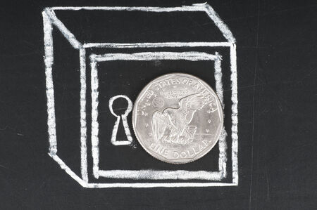 vaulted door: Dollar coin and drawn on a chalkboard safe. Save money concept .