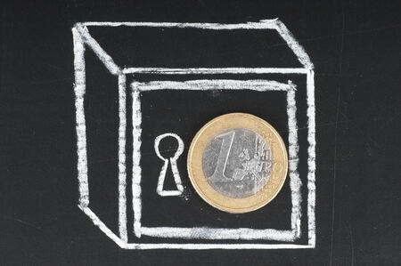 vaulted door: Euro coin and drawn on a chalkboard safe. Save money concept. Stock Photo