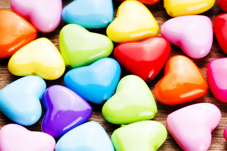 Colorful Valentines Day background with hearts.