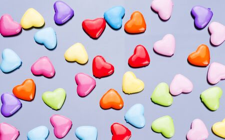 Colorful Valentines Day background with hearts. photo