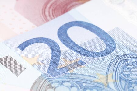 20 euro: 20 euro note closeup Stock Photo