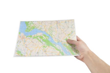 hand met een kaart Stockfoto