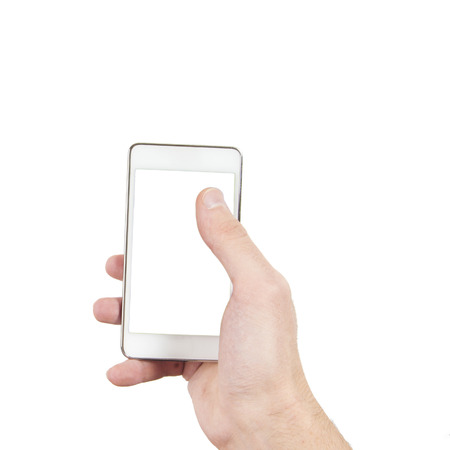 Smartphone in hand with blank screen isolated on white photo