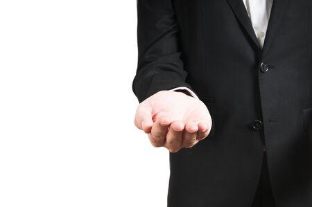 businessman hand holds somthing on white background photo