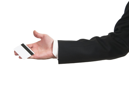 Blank credit card in a businessmans hand photo