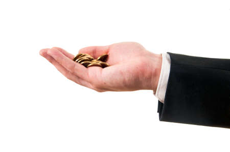 man in a suit holding coins in the hand photo