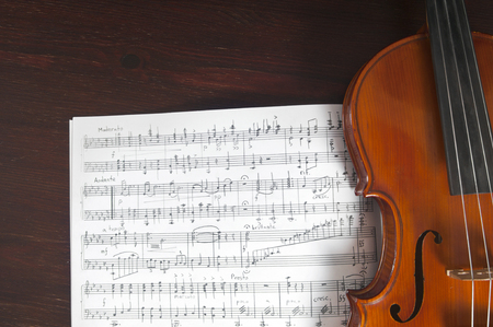 violin background: Music notes and violin on table