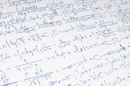 teorema: Handwritten calculation of higher mathematics as a background Foto de archivo