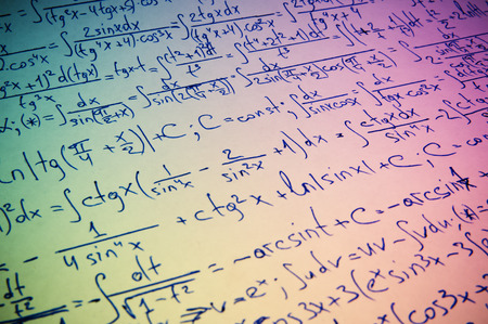 theorem: Handwritten calculation of higher mathematics as a background Stock Photo
