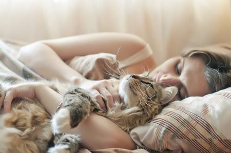 그녀의 고양이 함께 침대에서 자 고하는 소녀 스톡 콘텐츠