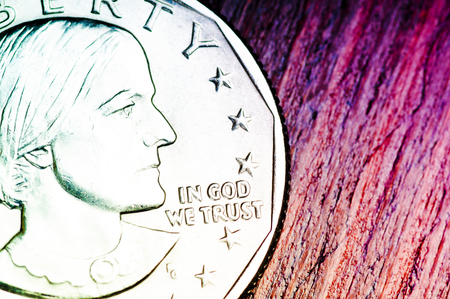 in god we trust: In God we trust. Inscription on the coin of one dollar