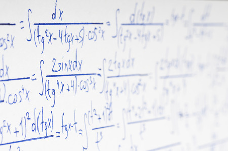 theorem: Handwritten calculation of higher mathematics as a background Stock Photo