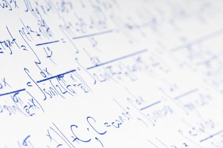 Handwritten calculation of higher mathematics as a background Stock Photo