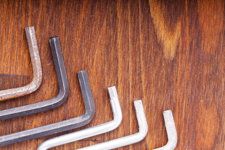 Hex keys on the table Stock Photo