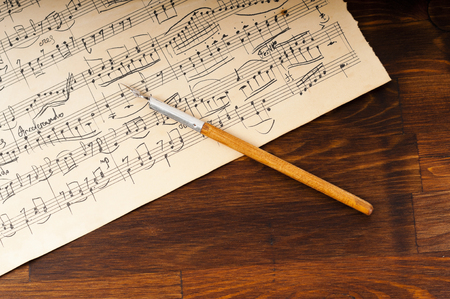 sonata: Old music sheet. Manuscript Stock Photo