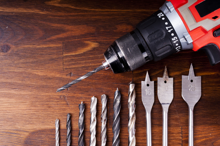 The old drill and drill on the table Stock Photo