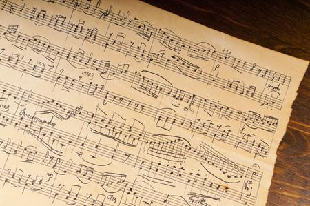 hoja en blanco: Yellowed from time sheet music notation. Manuscript