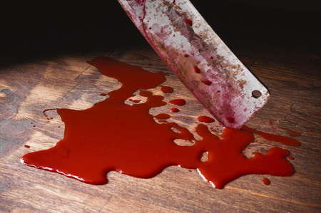 A puddle of blood and rusty knife. Murder. Archivio Fotografico