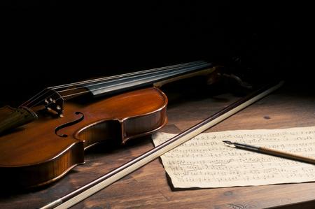 Sheet music and violin