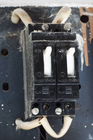 Old circuit breaker in the electrical panel