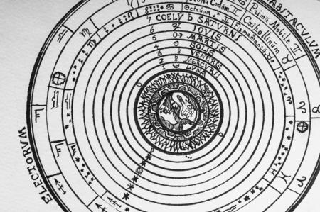 Handwritten astrological star circle, manuscript