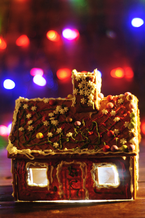 Gingerbread house on a christmas background Archivio Fotografico