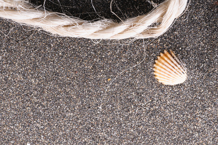 Rope and shell on volcanic sand Stockfoto