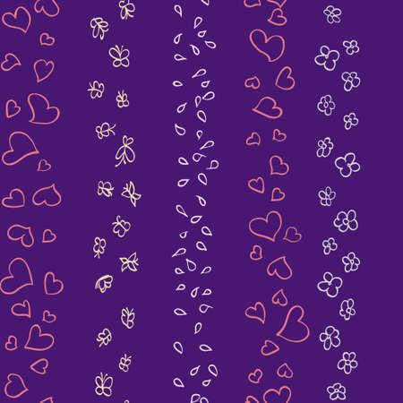hearts flowers butterflies pattern  Vector