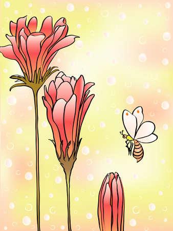 tarjeta amarilla: Tarjeta amarilla con la flor Vectores